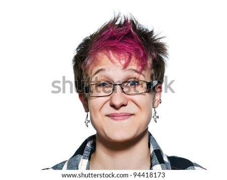 Close-up portrait of young expressive woman smiling in studio on white isolated background - stock photo