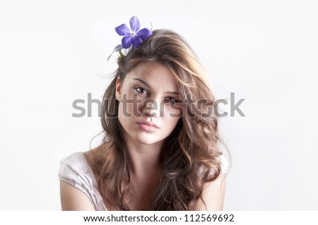 close up portrait of young girl - stock photo