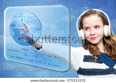 Close up portrait of young girl calculating earth radius on digital screen.Conceptual portrait of girl touching futuristic screen against blue background. - stock photo