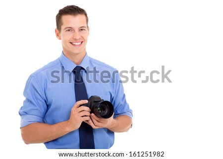 close up portrait of young photographer on white background - stock photo