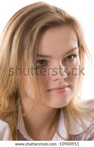 close-up portrait of young pretty woman, face only