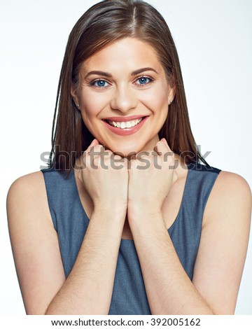 Close up portrait of young smiling business woman. Isolated studio background. - stock photo