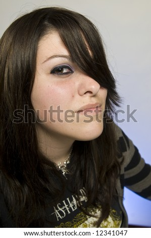 Close up portrait of young woman emo gothic
