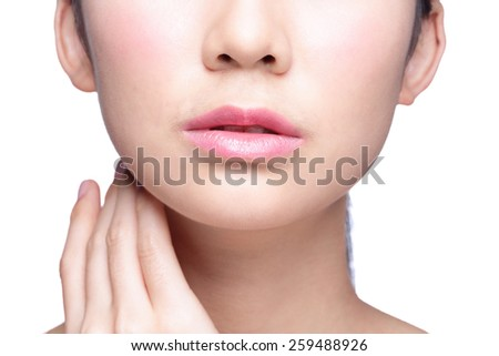 Close up portrait of young woman with beautiful lips - stock photo