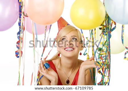 close up portrait pretty blond woman in red dress with balloons during a party over white smiling - stock photo