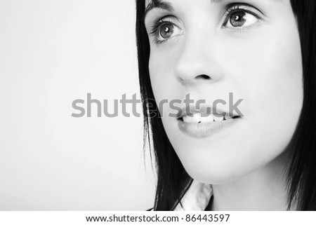close up portrait shot in the studio of a woman - stock photo