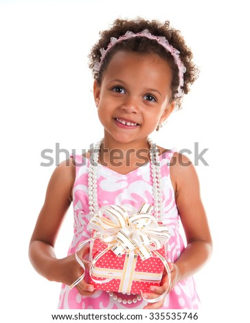 Close-up portrait smiling girl with curly hair and  gift on a white background