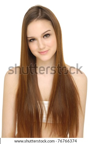 Close up Pretty woman with long hair - stock photo