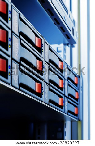 close-up rack-mounted disk array server - stock photo