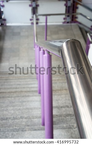 Close up railing and stairs. - stock photo