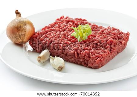 Close up raw ground beef - stock photo
