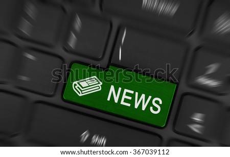 Close up red enter button written news - stock photo