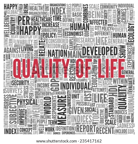 Close up Red QUALITY OF LIFE Text at the Center of Word Tag Cloud on White Background. - stock photo
