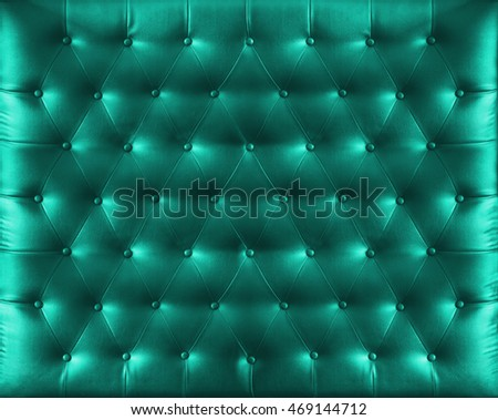 Close up retro chesterfield style, Green capitone textile background