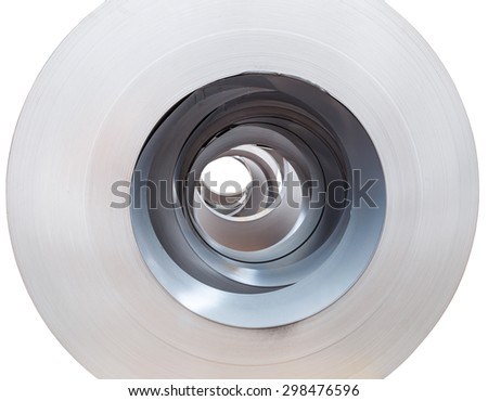 Close up Rolls of metal sheet  on white