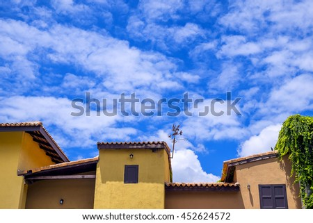 Close up roof vintage village and blue sky - stock photo