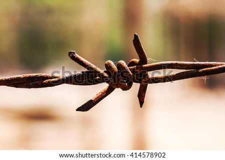 close up rusty and grunge barbed wire. - stock photo