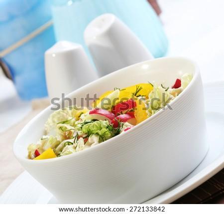 Close up salad in dish - stock photo
