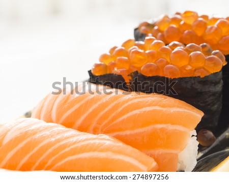 Close up salmon sushi - stock photo