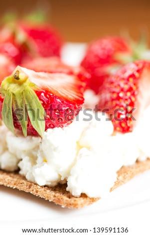 Closeup Crape Cake Wth Strawberry Sauce Stock Photo ...