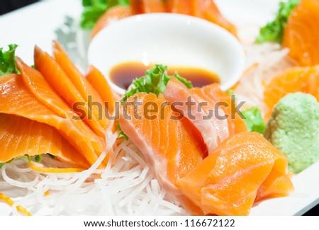 Close up sashimi salmon - stock photo