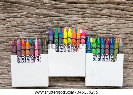 Close Up Set Of Crayons And Mix Color On The Wood Background , On Top - stock photo