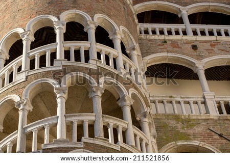 Close up shoot of  Buvolo place, secret but famous landmark located in Venice, Italy - stock photo