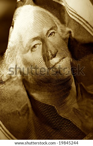 Close-up shoot of portrait Washington with mint one dollar note - stock photo
