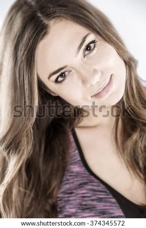 close up shot female fashion model wearing sports bra  - stock photo