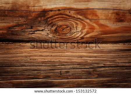 Close up shot for the old wooden logs wall of rural house background - stock photo
