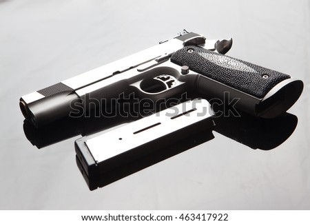Close up shot Gun with magazine gun