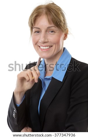 Close up shot of a business woman, smiling and looking pleased, holding a pen, isolated on white.