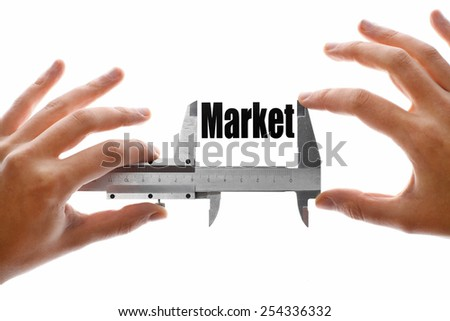 "Close up shot of a caliper measuring the word ""Market"" - stock photo"