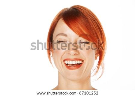 close-up shot of a caucasian beautiful woman - stock photo