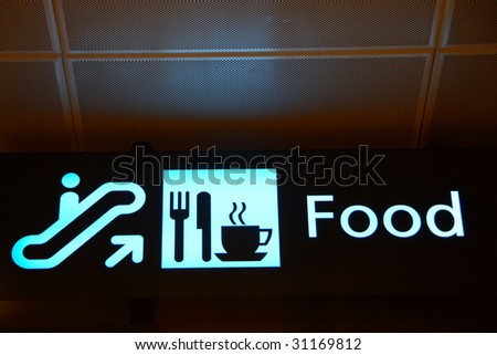 Close up shot of a directional sign showing the food restaurants in the Singapore Changi Airport. - stock photo