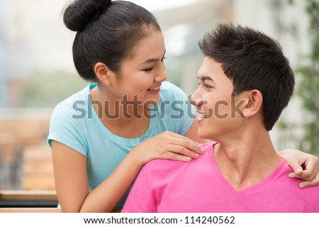 Close-up shot of a happy young couple spending time together - stock photo