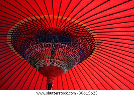 Close up shot of a nice angle of a red japanese Umbrella