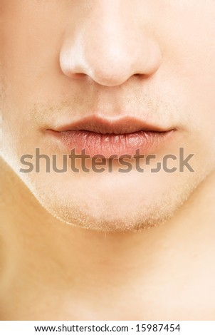 Close-up shot of a part of man's face - stock photo