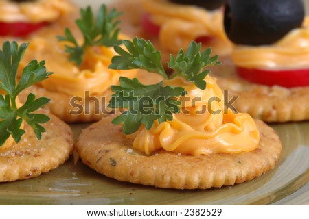 Close-up shot of a plate of crackers and cheese.  Shallow DOF, focus on first cracker