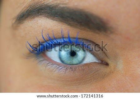 Close Up Shot Of A Right  Eye With Make Up - stock photo