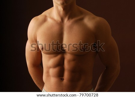Close up shot of a shirtless male chest - stock photo