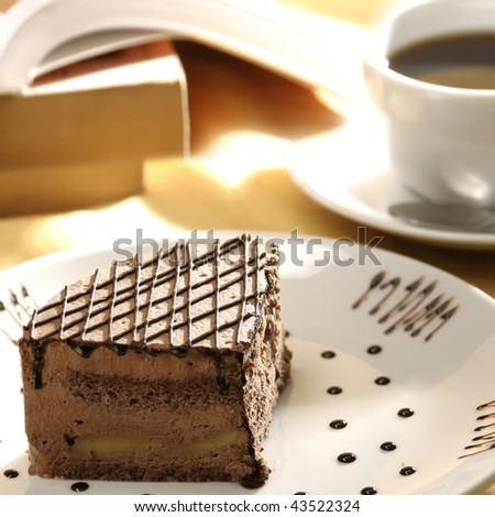 close up shot of a sliced cake and tea