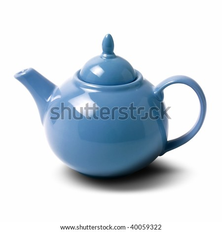 close up shot of a teapot on white background - stock photo