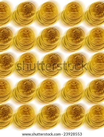 close up shot of  American quarter dollars - stock photo