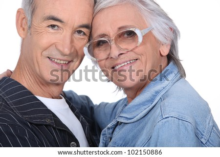 Close-up shot of an elderly couple - stock photo