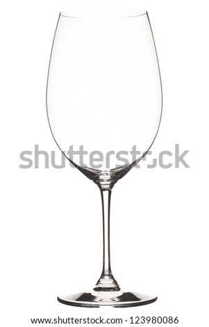 Close-up shot of an empty wineglass isolated on white background.