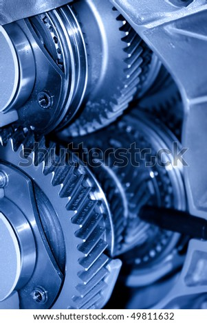 Close up shot of automotive transmission cut section - stock photo
