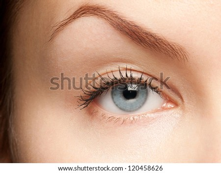 Close-up shot of beautiful female blue eye looking at camera - stock photo