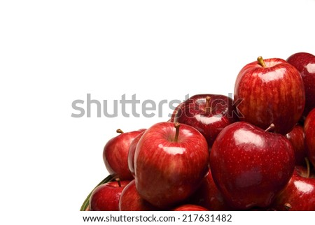 Close Up Shot Of Beautiful Red Apples with Copy Space - stock photo
