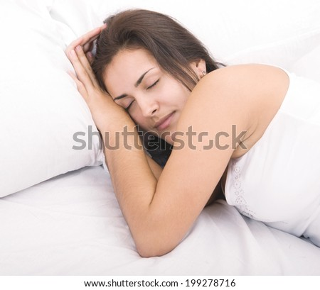 close up shot of beautiful sleeping woman